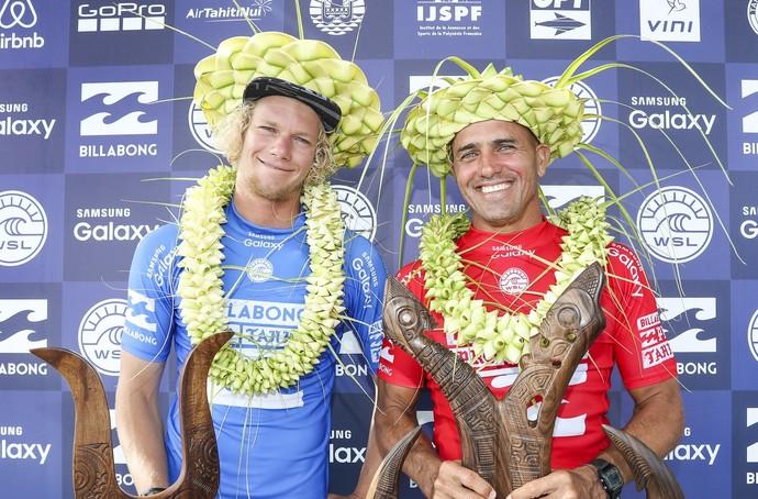 John John Florence e Kelly Slater, os finalistas da etapa do Taiti (Foto: globo.com / Divulgação)